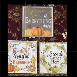 Lot of 3 Brand New Fall and Harvest Decor Signs